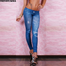 5508 Seamless Jeans Look with Diamonds on for Fitness Legging Fall Fashion Sexy Denim Pantalones diamonds fitness