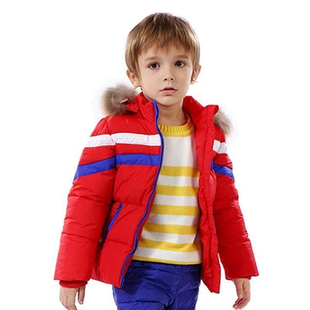 Quente Pato Branco Para Baixo Criança Para Baixo Casaco Jaqueta Com Capuz Criança menino Casacos Outerwear Jaqueta Da Menina Do Bebê Crianças Bebê Jaqueta de Inverno Snowsuit