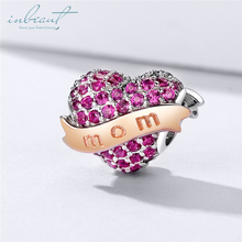 inbeaut Mother's Heart Beads 925 Sterling Silver Round Purple CZ fit Original diy Bracelet Mom Heart-shaped Charms S925 Jewelry vitas pan sterling silver beaded jewelry heart shaped green beads classic finished diy bracelet fashion korean style
