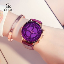 GUOU New fashion ladies quartz Watch Luxury Brand Women Watches temperament rhinestone female Leather watch bayan kol saati women watches guou creative square watch women fashion genuine leather quartz ladies watch saat erkek kol saati relogio feminino