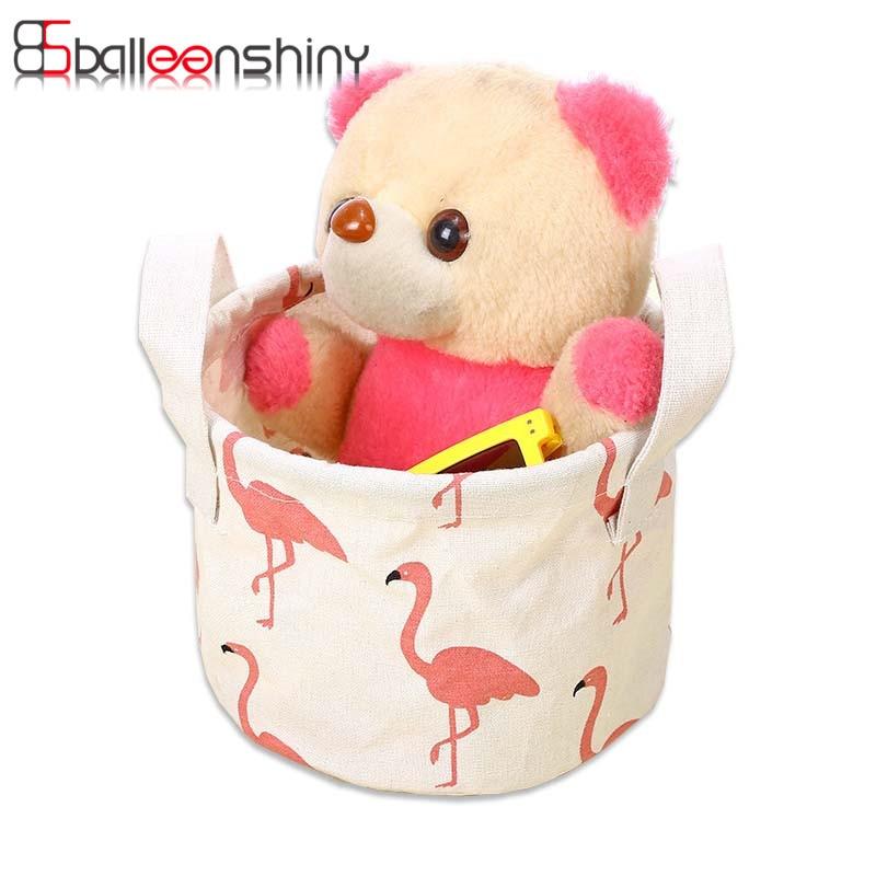BalleenShiny Storage Basket Cotton Fabric Desktop Cotton Linen Storage Basket Cartoon Flamingo Makeup Cosmetic Organizer