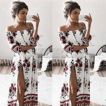 Women Summer Vintage Boho Floral Dresses Sexy CUERLY Neck Split Long Evening Party Beach Dress Sundress Clothing