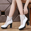 Spring Autumn Genuine Leather Boots Sexy Net Head Cowhide Thick Heel Ankle Boots Women's Shoes sys-682