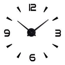 new vintage wall clock modern design large diy acrylic clocks horloge murale quartz watch 3d stickers brief living room