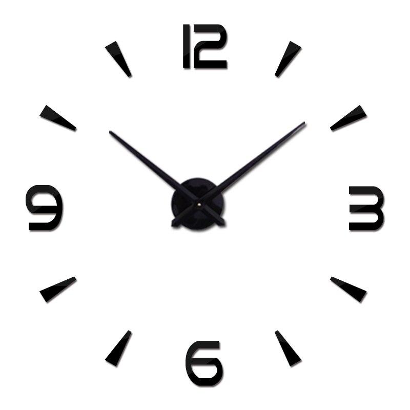 Nuevo reloj de pared de diseño moderno relojes reloj de cuarzo de aguja de espejo de acrílico Diy engomada 3d pegatinas habitación envío gratuito