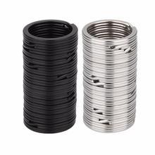 100pcs Key Rings Metal Split Rings Flat Key Chains Rings Black Silver