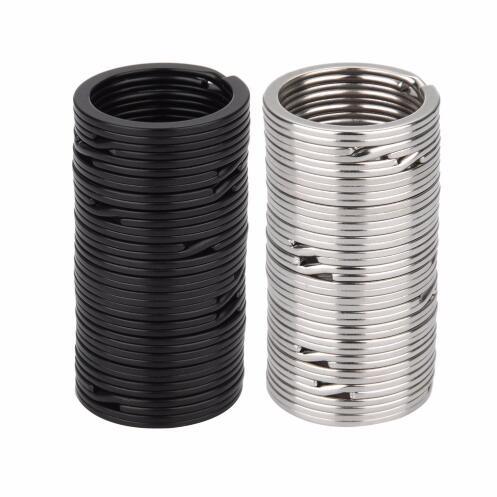 100 шт. металлические кольца для ключей, плоские Цепочки Кольца Для Ключей, черные, серебряные 25 мм 32 мм