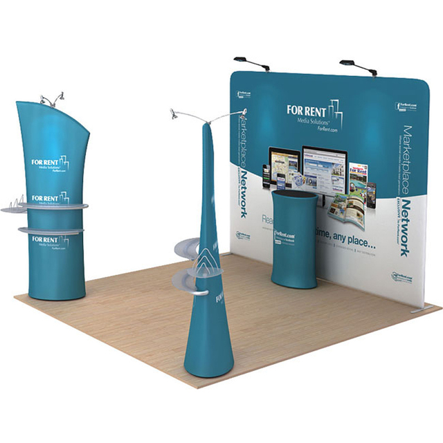 Portable 10ft Straight Tension Fabric Trade Show Display
