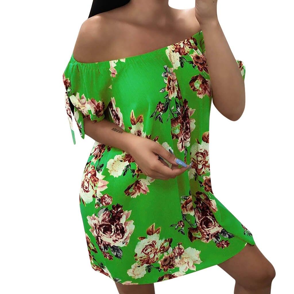 Off Shoulder dress women summer nature Summer Dress Casual Lady Bohemia Floral Printed dress summer 2019 beach sukienka 45#G7