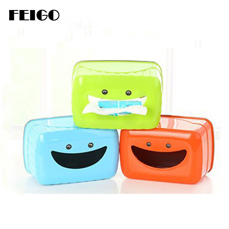 FEIGO 1Pcs Tissue Box Cute Smiling Face Plastic Case Real Tissue Case Baby Wipes Press Home Tissue Holder Accessories Towel F867