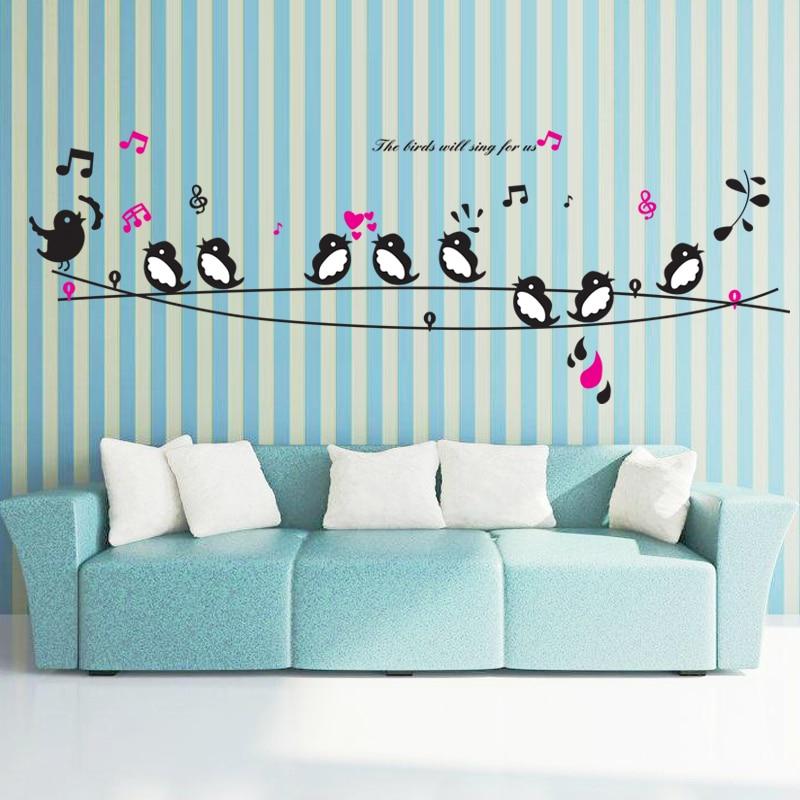 Happy Товары для птиц песня музыка Наклейки на стену Гостиная Спальня ТВ диван Задний план на стены Домашний Декор Книги по искусству росписи ... ...