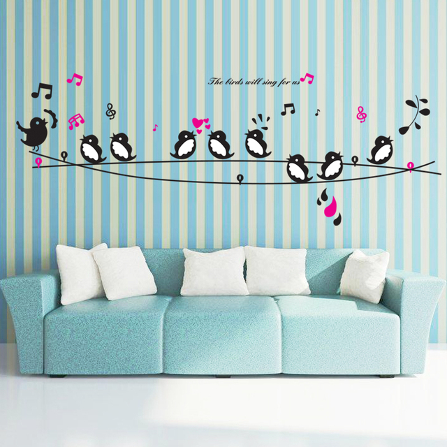 Happy Birds Song Music Wall Stickers Living Room Bedroom TV Sofa Background Decals Home Decor