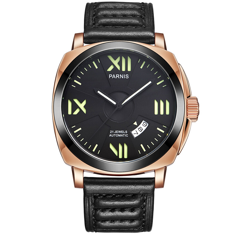 Parnis Knight Seriers Luminous Mens Leather Watchband Fashion Automatic Mechanical Watch Wristwatch reloop rhp 20 knight