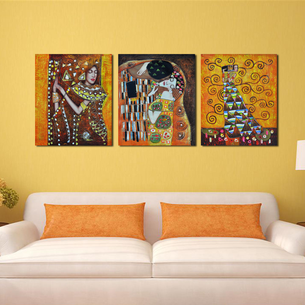 Bedroom famous artist art deco kiss abstract cheap modern for Wall art painting