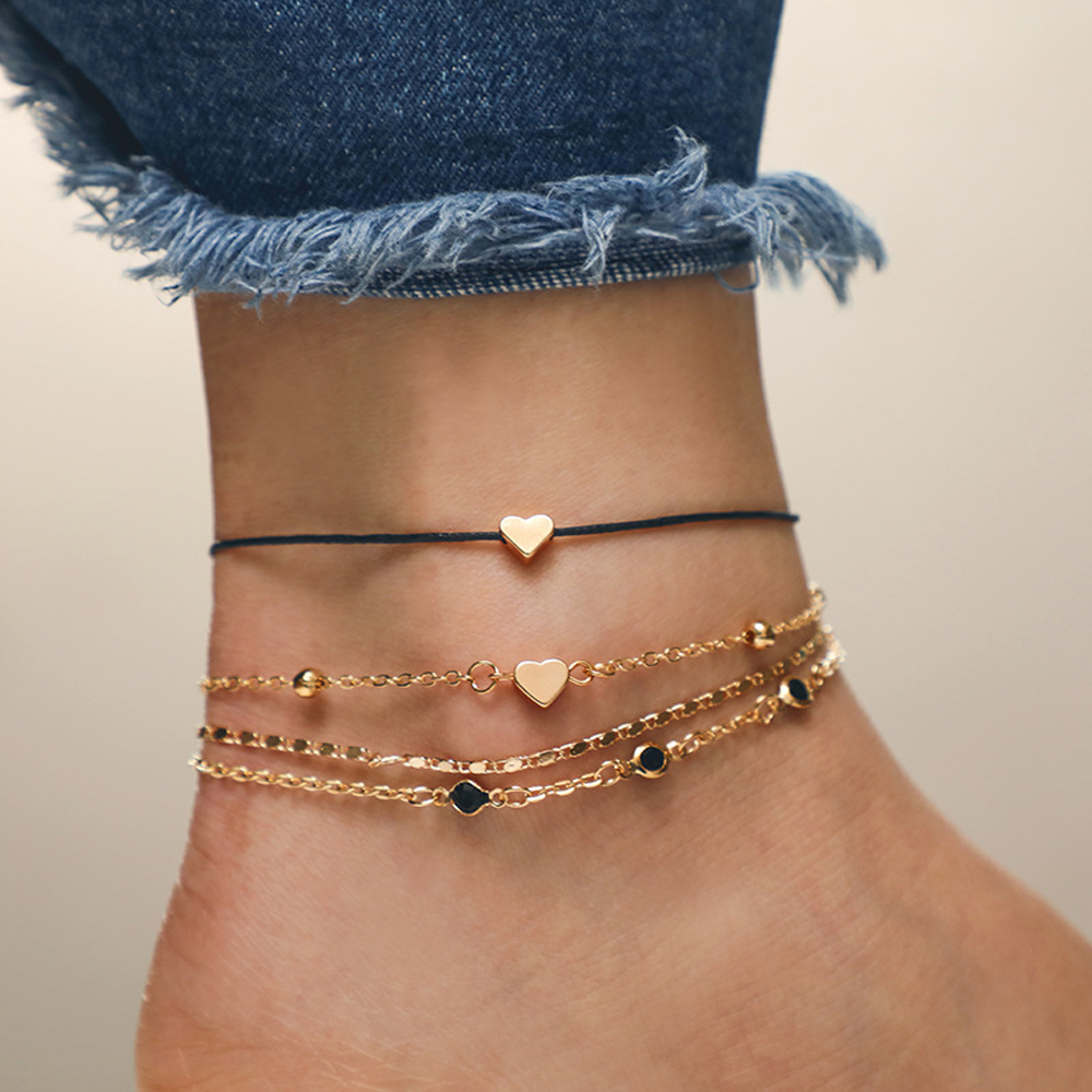 2019 Hot 4PCS/Set New Boho Gold Color Heart Anklets For Women Black Rope Chain Ankle Bracelet On The Leg Foot Jewelry Gift