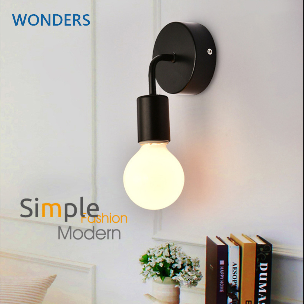 Simple Wall Lamp Vintag Indoor Lighting Black White LED Sconce Wall Light Fixtures For Home Bedroom Bedside Bar Hotel