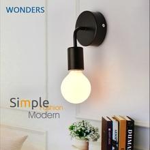 Simple Wall Lamp Vintag Indoor Lighting Black white LED Sconce Wall Light Fixtures For Home Bedroom Bedside bar hotel стоимость