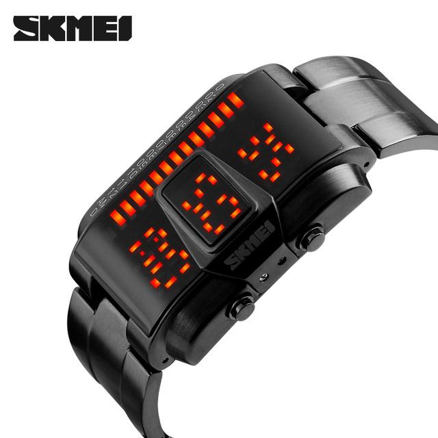 Skmei hombres reloj deportivo marca 50 m natación impermeable relojes de moda pantalla led venda de la aleación negro relojes de pulsera relogio masculino