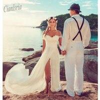 Vestido de NoivaLace Off The Shoulder Long Chiffon Wedding Dresses 2019 Bridal Dress Robe De Mariee