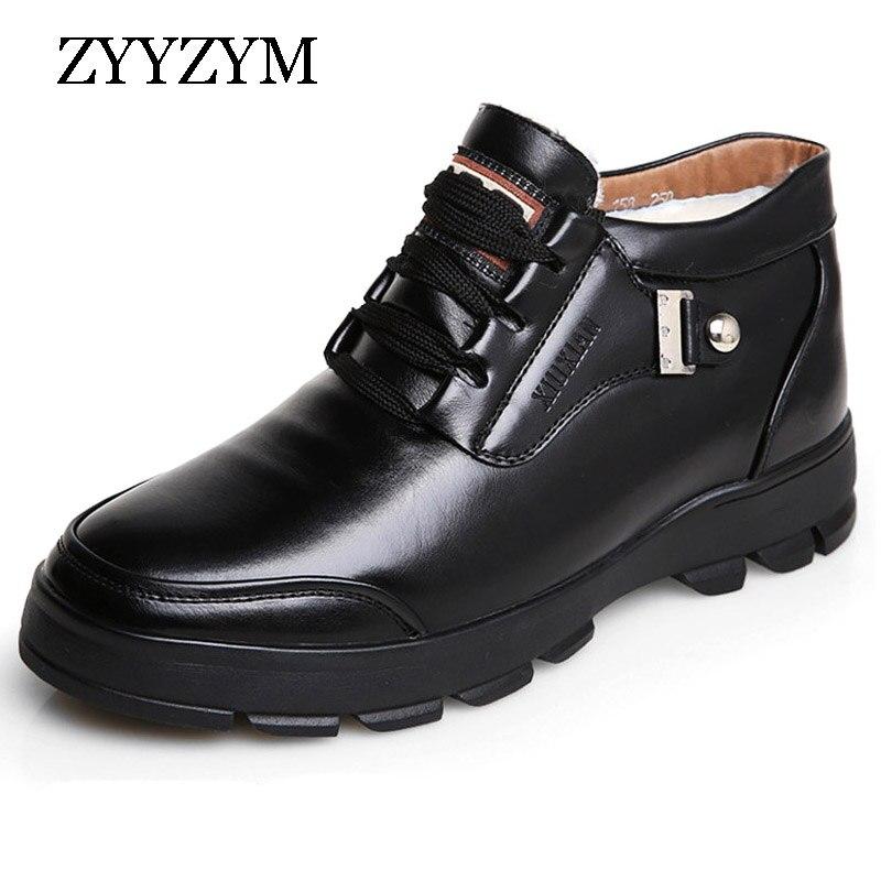 ZYYZYM Mens Snow Boots Winter Wool Blend Keep Warm Waterproof Men
