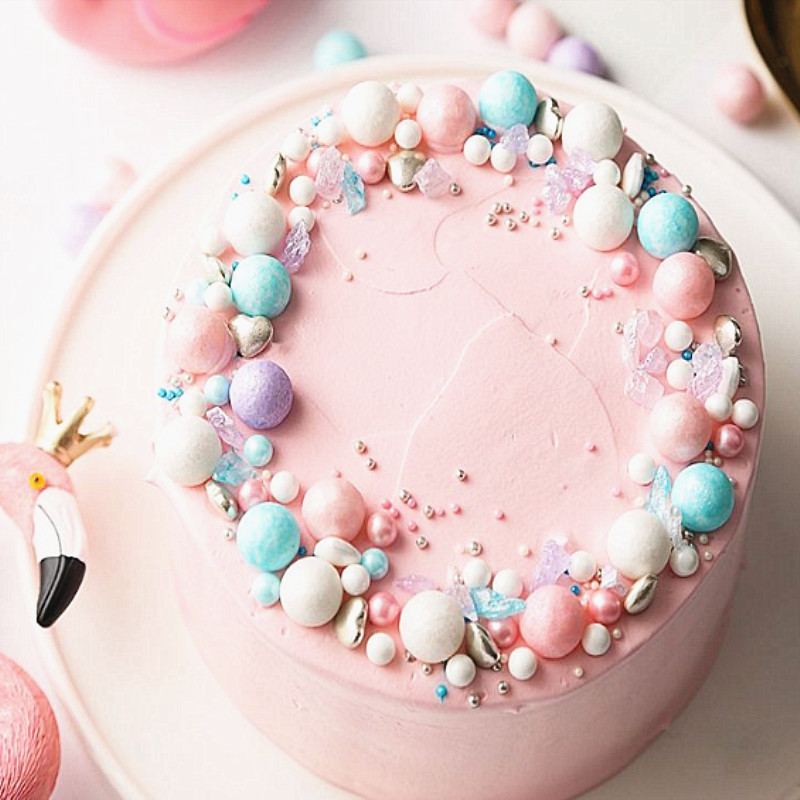 50g Edible Sugar  Beads 14mm Big Pearl Sugar Ball Fondant DIY Cake Baking Sprinkles Colorful Ball Cake Decoration Free Shipping