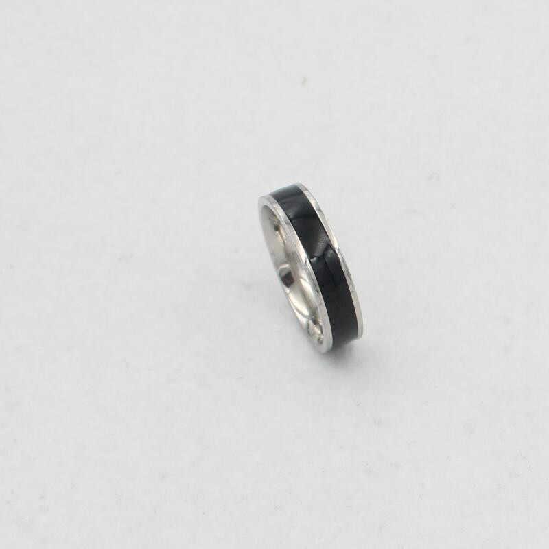Chất lượng cao ba lan đen thanh ngắn gọn nhẫn cưới cho phụ nữ người đàn ông yêu vòng trang sức vòng thép không gỉ vật liệu thả tàu ok wj220
