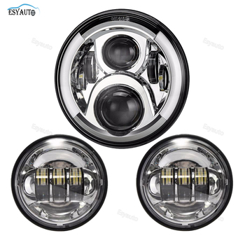 "7 Inch Round LED Headlight Half Angel Eyes 7"" with 1 Pair 4.5 Inch Passing Auxiliary Fog Lights for Motorcycle"