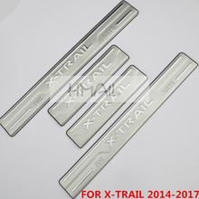 Stainless steel door sill strip for NISSAN X-TRAIL 2008-2017  exterior Threshold trim car styling welcome pedal Scuff plate film stainless steel sill strip for k ia k2 car styling exterior accessories window trim