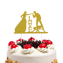 Love Wedding Cake Topper Bride Groom Mr & Mrs Flags Engagement Party Baking Decor Xmas