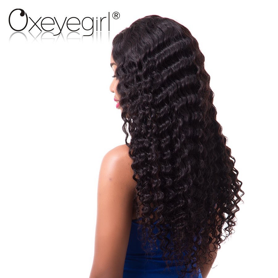 Oxeye girl Lace Front Human Hair Wigs For Women Malaysian Hair Deep Wave Lace Front Wig 10-26 Natural Black Color NonRemy Hair