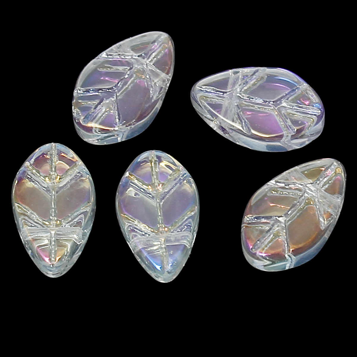 DoreenBeads Glass Loose Beads Leaf Transparent AB Color About 11mm x6mm -11mm x7