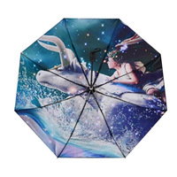 12 созвездий Ветрозащитный Солнечный Зонты три раза Сверхлегкий черное покрытие Anti UV Для женщин дождь зонтик