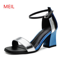 цена на Chunky High Heels Gladiator Sandals Women Sandals 2018 Summer Shoes High Heels Open Toe Shoes Woman Thick Heel Ladies Sandals