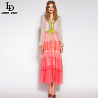 High Quality 2016 Ruwnay Designer Summer Dress Women S Long Sleeve Tiered Cute Gradient Color Sequin