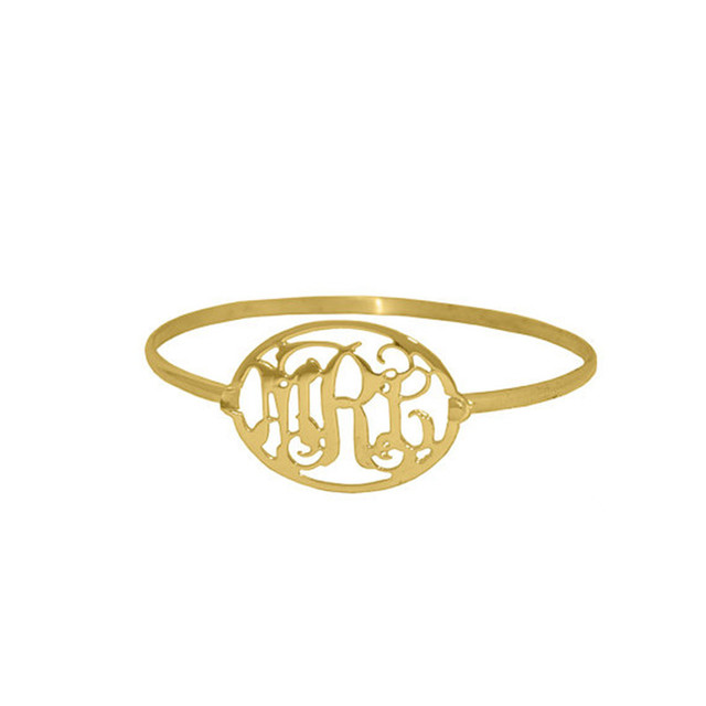 High-end Retro Monogram Bangle Nameplate With Personalized 3 Initial Silver Custom Letter Bracelet Bridesmaid Gift