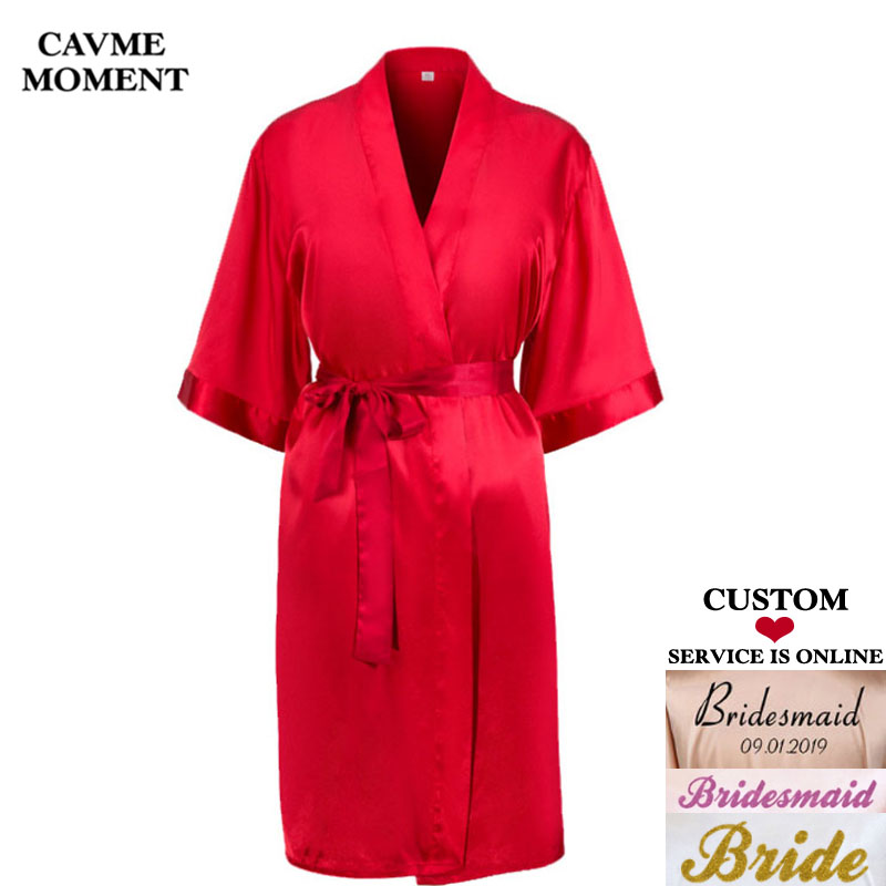 fd6855e2a7 Detail Feedback Questions about Cavme Custom Robe Women s Kimono Satin  Robes Wedding Bride Bridesmaid Robes Gift Kimono Femme Summer Sleepwear  Floral ...