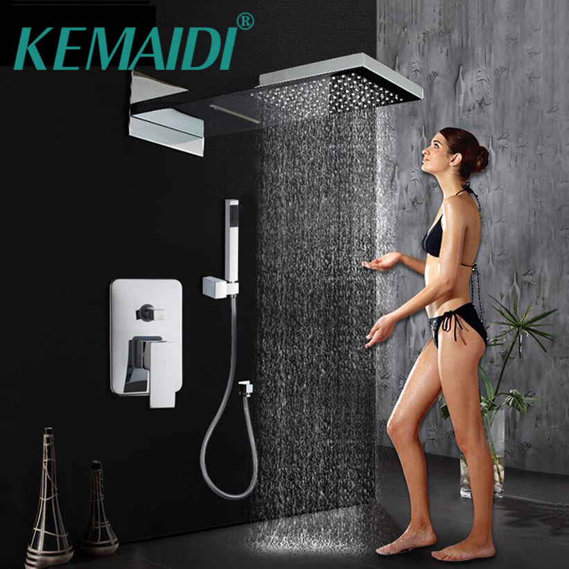 KEMAIDI 9 inch Luxury New Bathrome Rainfall Shower Head Polished Wall Mouned Panel Mixer Taps Shower Faucets Set Chrome Finish 8 led bathrome bathtub rainfall shower head polished wall mounted swivel mixer taps shower faucets set chrome finish