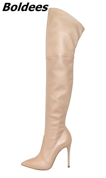 Concise Style Nude PU Leather Stiletto High Heel Long Boots Woman Fancy Pointed Toe Thigh High Boots Celebrity