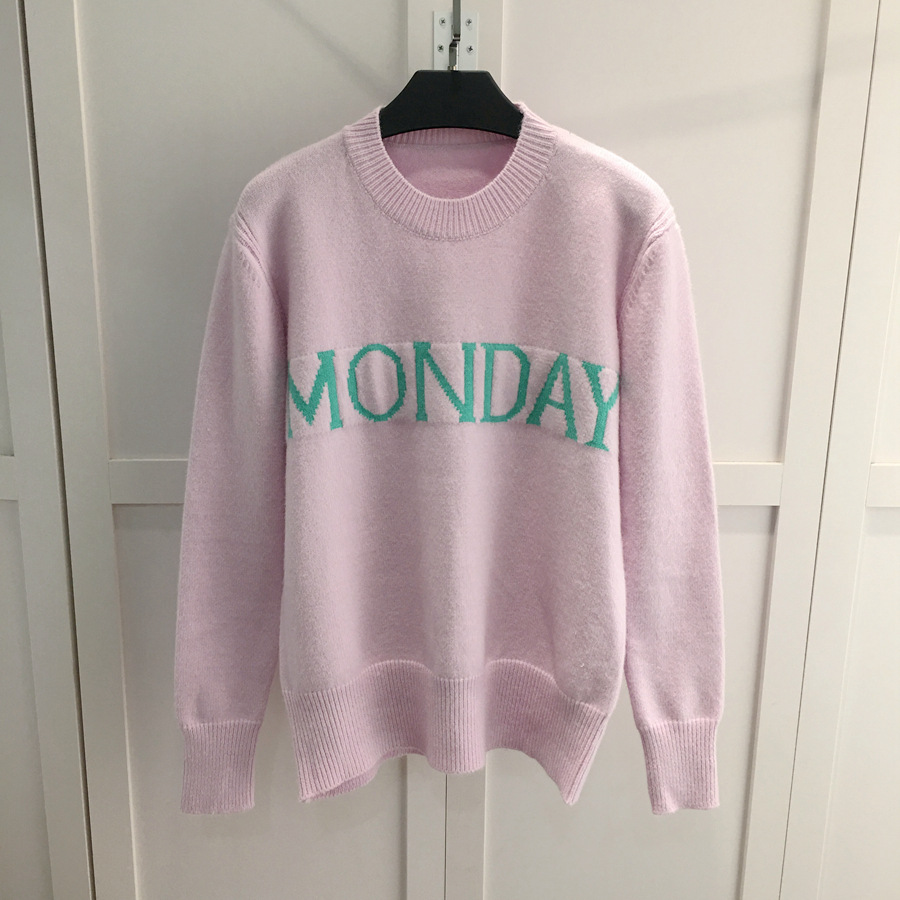 OFTBUY 2017 new spring week letter patterns short knitting sweater women pullovers jumper tricot knitwear cropped