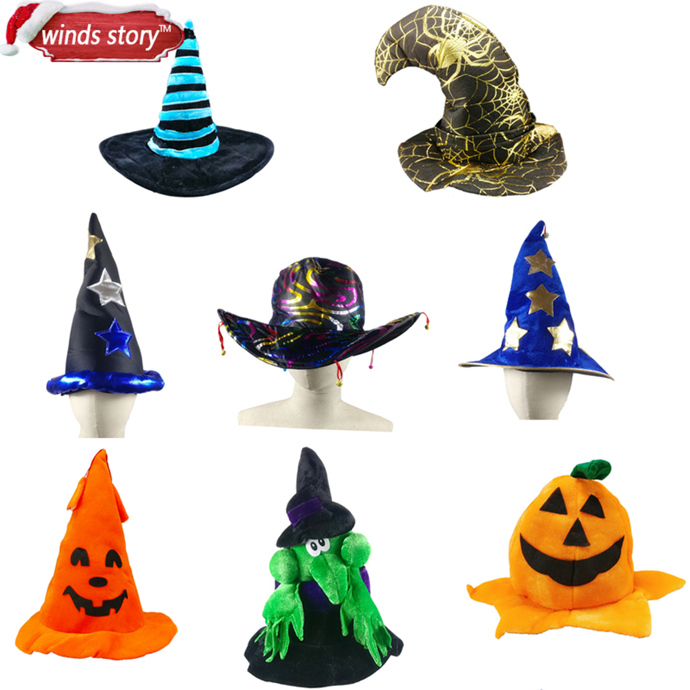 NEW 1pcs Halloween Halloween Pumpkin Hat Witch Hat Fancy Dress Party Party Costume Cap Party Dekor për Fëmijët Kapakë Të rriturit Fëmijët Cosplay