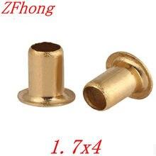 1000 pces 1.7x4mm bronze cobre oco rebite 1.5mm marca dupla-face placa de circuito pcb vias pregos/latão cobre calos