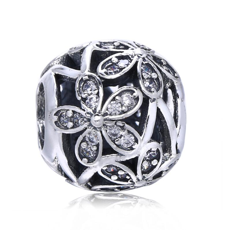 Authentic 925 Sterling Silver Bead Charm Openwork Daisy Flower With Crystal Bead Fit Pandora Bracelet & Bangle Women Diy Jewelry ложка разливательная труд вача стандарт 56 см