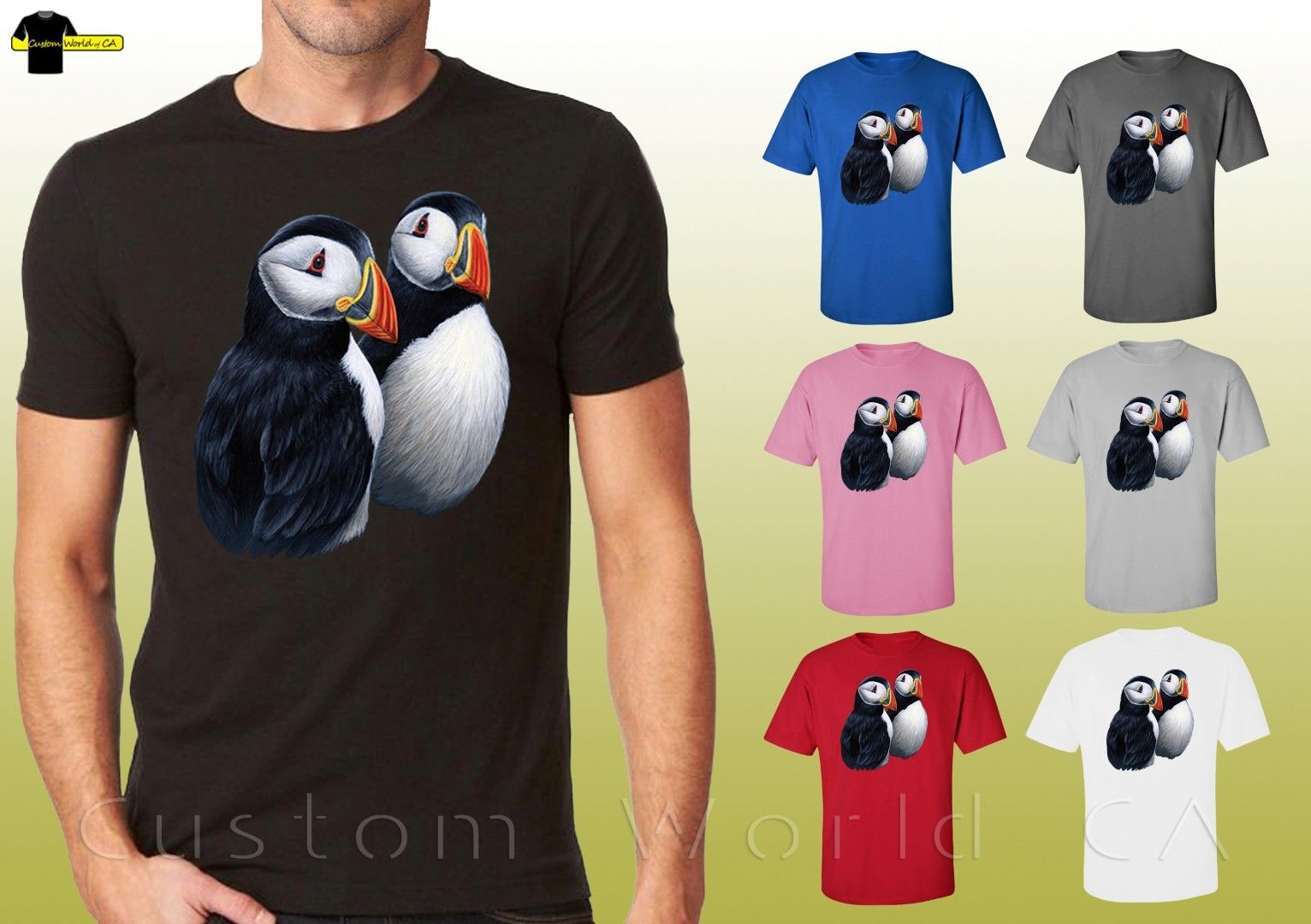 Puffin Digitally Printed White Ladies Fitted T-Shirt
