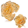 Accessories flower ring cutout flower wide bracelet openings female set tz55