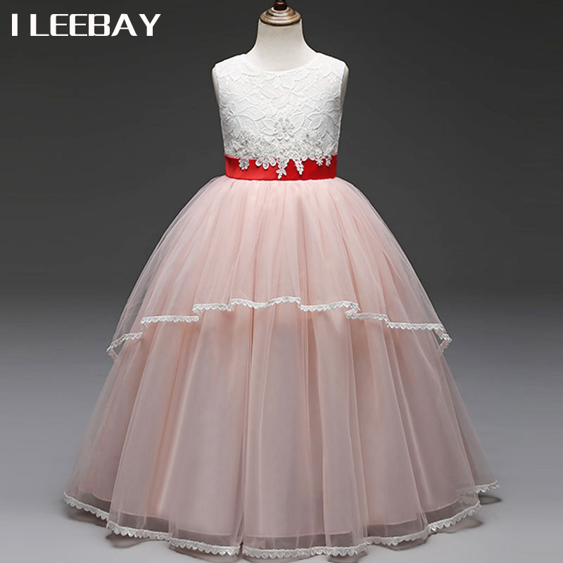 Flower Girl Wedding Dress for Party Kids Princess Dresses for Girls Lace Tulle Tutu Costume Children Clothes Vestido Infantil