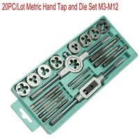 ANENG 20PCS/Set Tap And Die Set Combination Alloy Steel Hand Tools Metric Size For Wood Plastic
