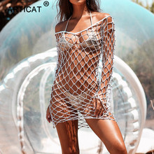 Articat Sexy Hollow Out Summer Dress Women Black Beads Crochet Backless See Through Mini Dress Casual Party Beach Dress Vestidos