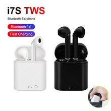 Kablosuz kulaklık Bluetooth 5.0 gerçek spor kulak w/Mic ekstra bas sporcu kulaklığı TWS Stereo Mini kulaklık i7s damla kargo