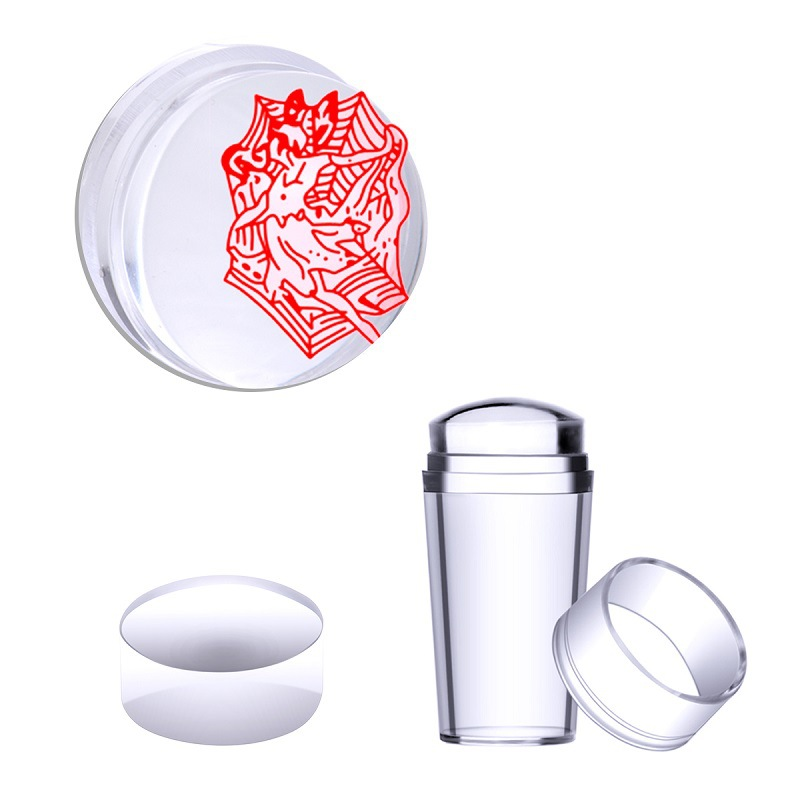 Exclusive 2016 New Design Pure Clear Jelly Silicone Nail Art Stamper Scraper with Cap Transparent 2.8cm Nail Stamp Stamping Tool