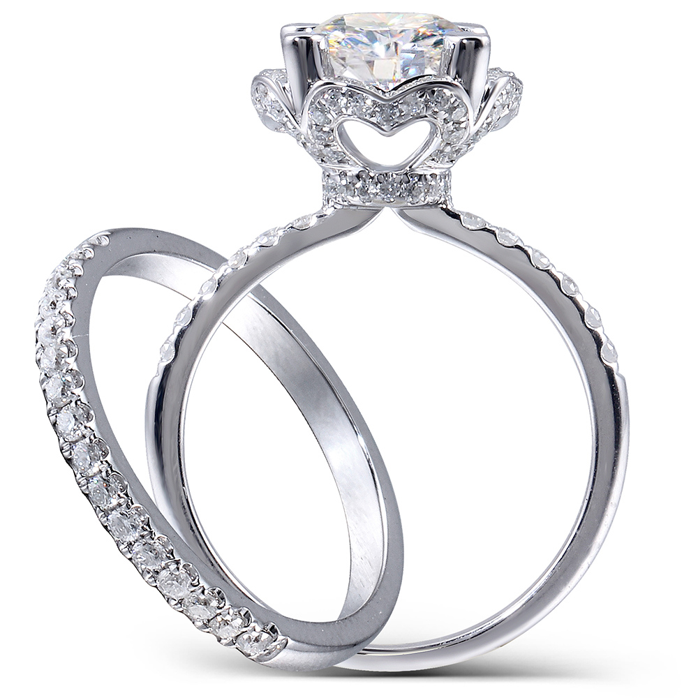Center 2.5 Carat F Incolor Rodada Corte Moissanite Anel de Noivado Casamento Set Lab Diamante Acentos 14 K Mulheres Sólida 2 peças